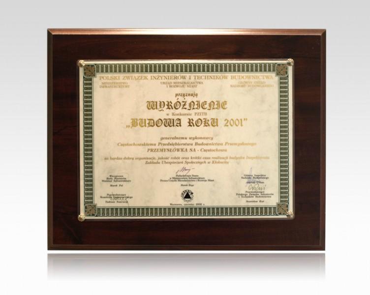 Wyróżnienie - Budowa Roku 2001