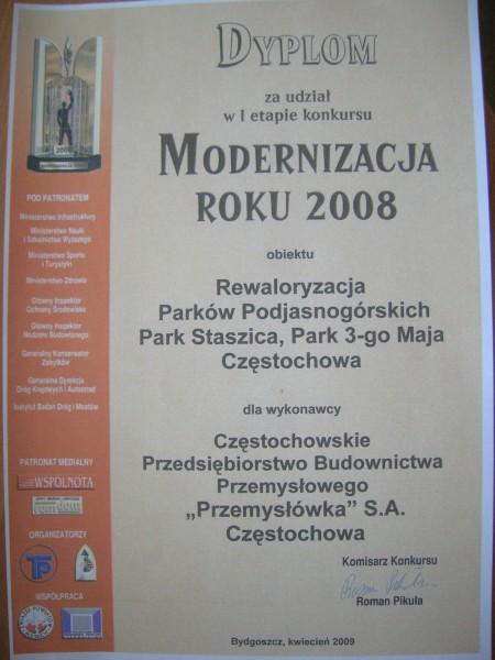 Modernizacja roku 2008 I etap konkursu - Parki Podjasnogórskie