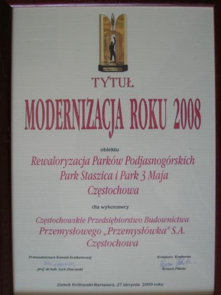 Udział w konkursie ''Modernizacja roku 2008''