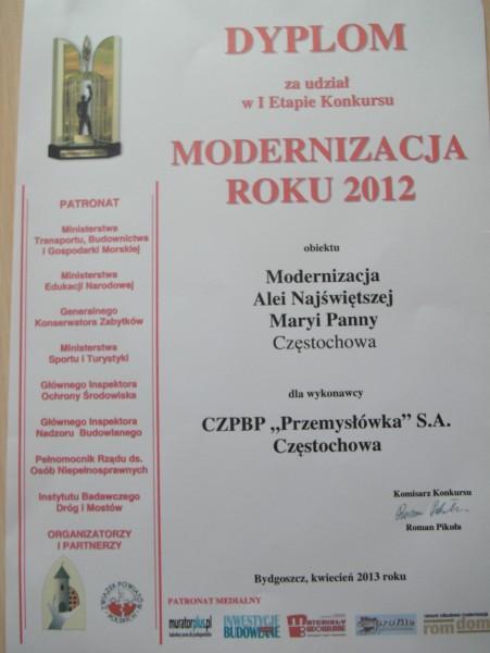Udział w konkursie ''Modernizacja roku 2012''