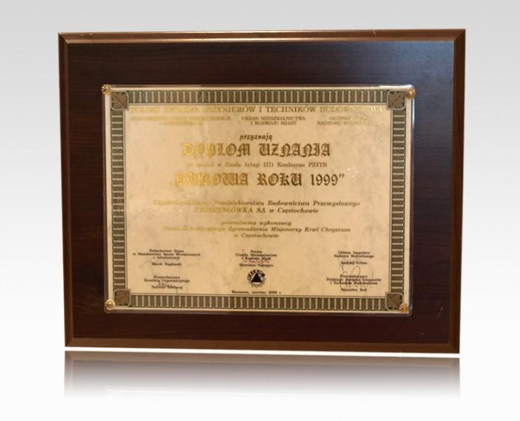 Dyplom Uznania - Budowa Roku 1999