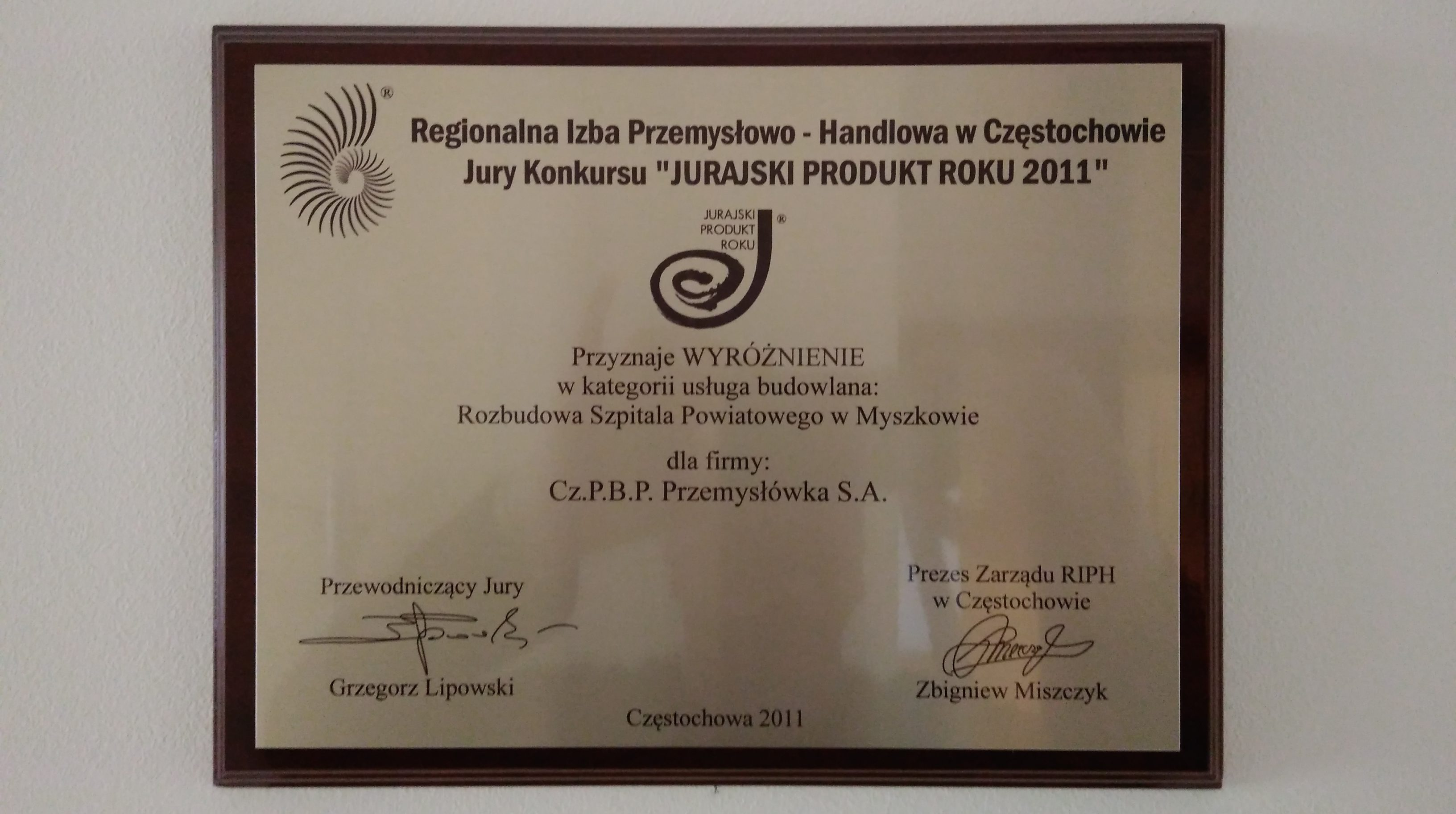 Jurajski Produkt Roku 2011 - Rozbudowa Szpitala Powiatowego w Myszkowie