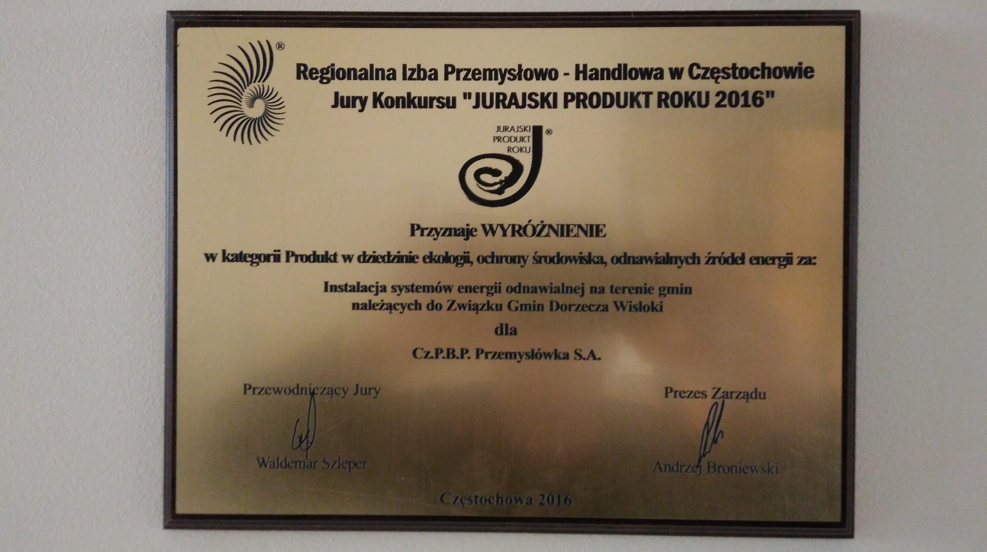 Jurajski Produkt Roku 2016 - Instalacja systemów energii odnawialnej na terenie gmin należących do Związku Gmin Dorzecza Wisłoki