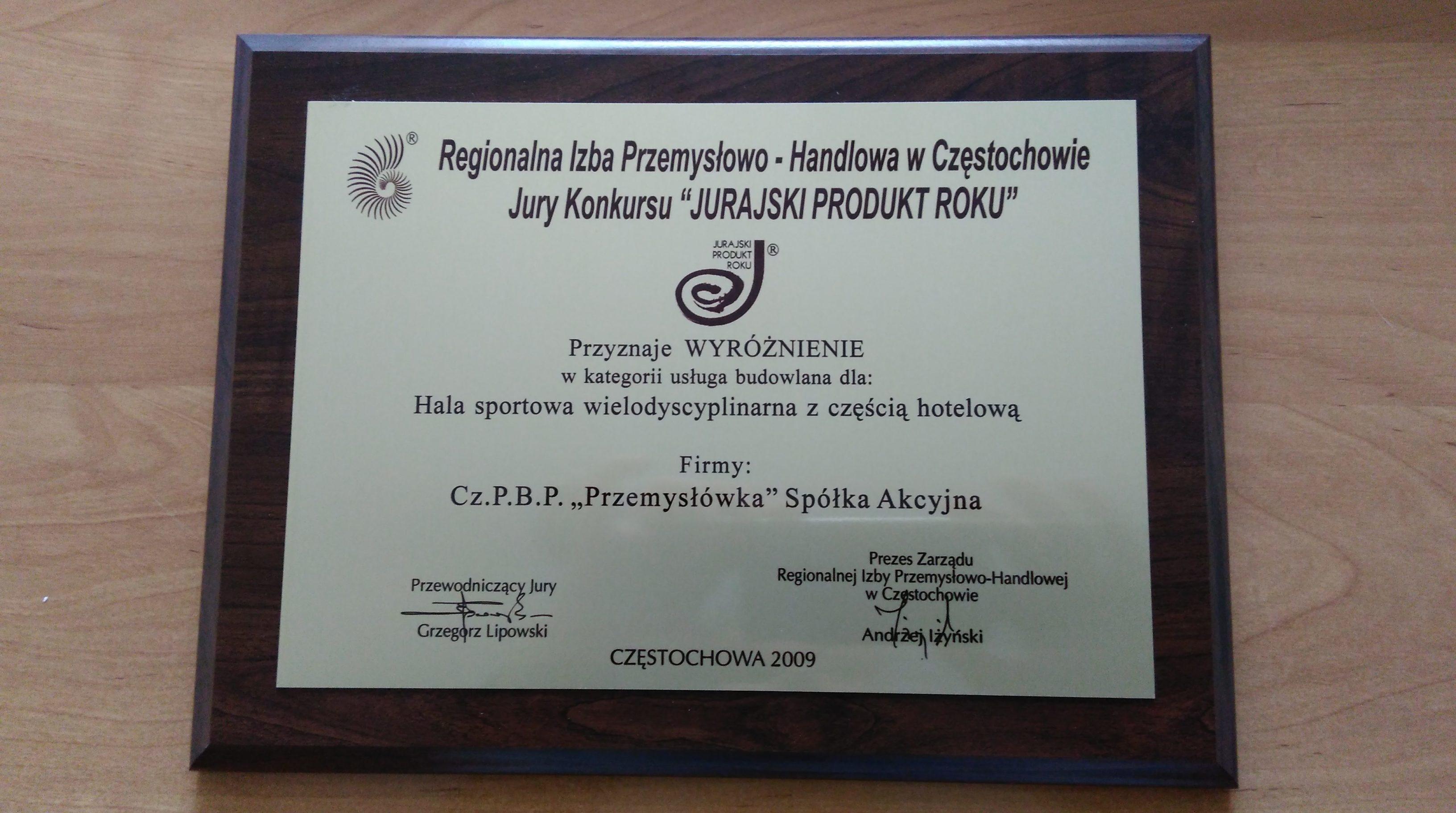 Jurajski Produkt Roku 2009 - Hala sportowa wielodyscyplinarna z częścią hotelową