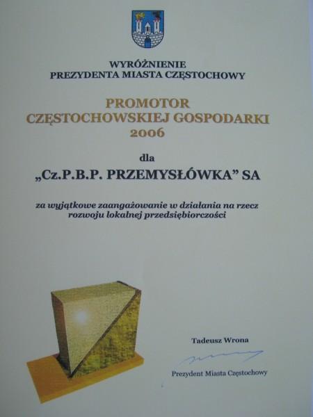 Wyróżnienie Prezydenta Miasta Częstochowy