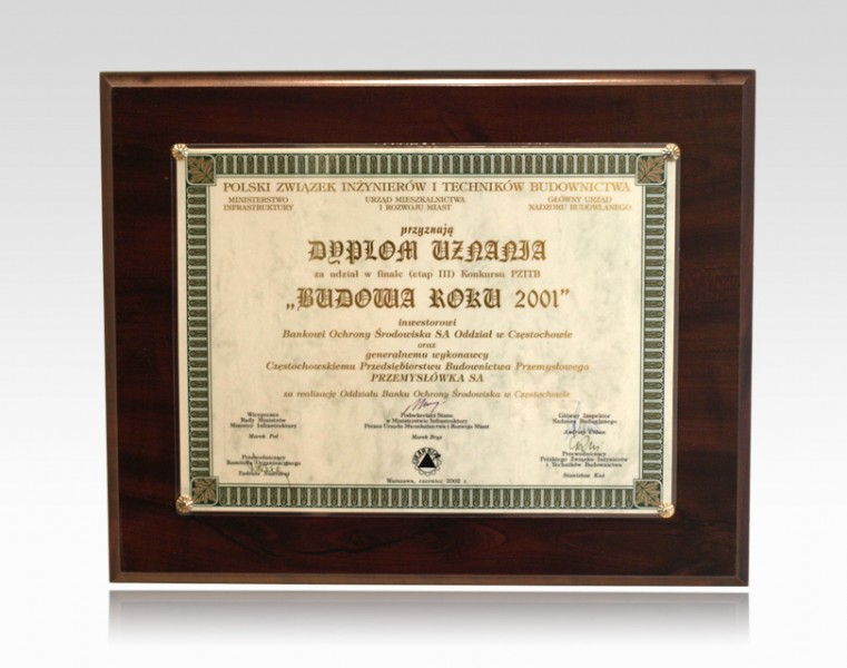 Dyplom Uznania - Budowa Roku 2001