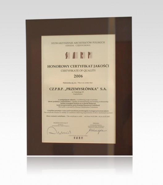 Honorowy Certyfikat Jakości 2006